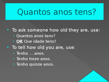 Quantos anos tens (Age in Portuguese) power point