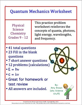 quantum mechanics worksheet review by amy brown science tpt. Black Bedroom Furniture Sets. Home Design Ideas