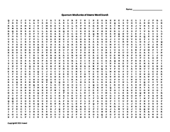 Quantum Mechanics of Atoms Vocab. Word Search for Physics or Physical Science