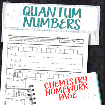 Quantum Numbers Chemistry Homework Worksheet by Science With Mrs Lau