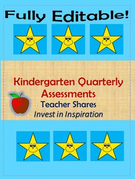Quarter 1 Kindergarten Assessment sheets