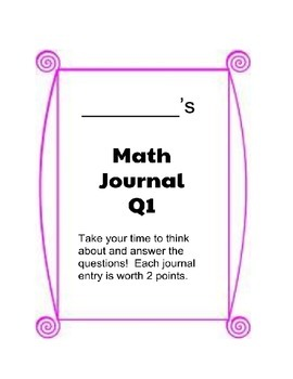 Quarter 1 Math Journal - Grade 3