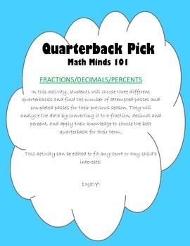 Quarter Back Pick - Fractions, Decimals, Percents