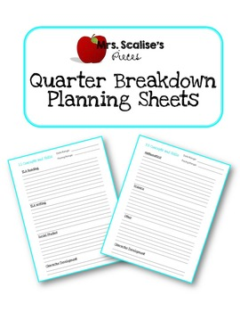 Quarter Breakdown Planning Sheets - Freebie!