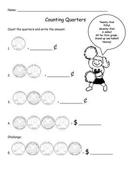 Quarter Cheer Poster and Worksheet (Math, Money)