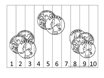 Quarter Coin 1-10 Number Sequence Puzzle. Financial education for preschool.