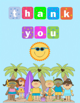 Thank you summer. Cards worksheets teaching resources