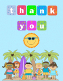 Quarter-Fold End-of-Year Summer Themed Thank You Card