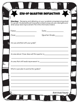 Quarter grade reflection worksheet by sixth grade fanatic tpt quarter grade reflection worksheet ibookread ePUb