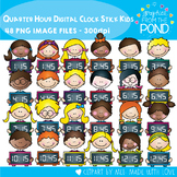Quarter Hour Digital Clock Stick Kids Clipart
