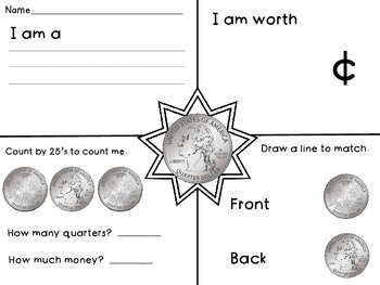 Quarter - Math Money Center, Money Unit, Summer Packet