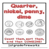 Quarter, Nickel, Penny, Dime