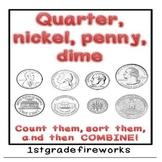 Quarter, Nickel, Penny, Dime