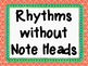 Quarter Note, Eighth Note, Quarter Rest, and Half Note Flashcards