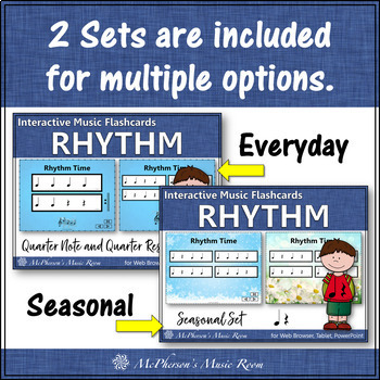 Quarter Note & Quarter Rest - Interactive Rhythm Flash Cards