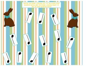 Quarter Note Stem Bunny Matching Game