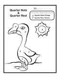 Color by Music: Quarter Note and Quarter Rest Coloring Page