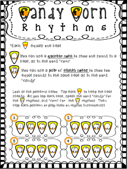Halloween Rhythms - Quarter Notes and Eighth Notes:  Candy Corn Rhythm Patterns