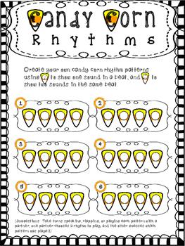 Halloween Rhythms - Quarter Notes and Eighth Notes:  Candy Corn Rhythm Patterns