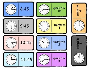 Quarter Past & Quarter After Dominoes