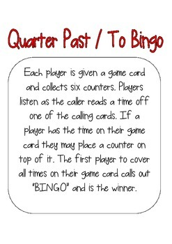 Quarter Past and To Times Bingo