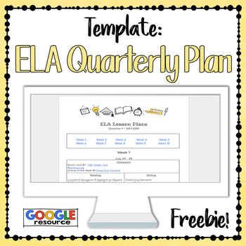 quarterly planning template for ela teachers digital by plans by mrs b