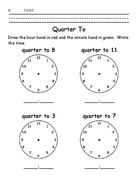 Quarter To - Write the Time