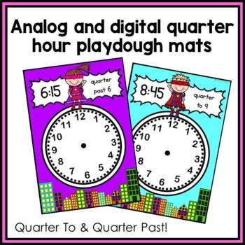 Quarter To and Quarter Past Time Playdough Mats