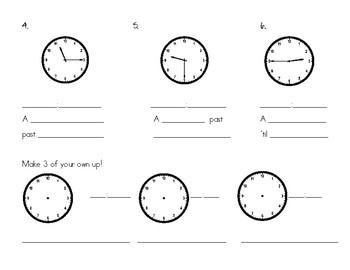 Quarter and Half Hour: Writing the time