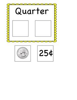 Quarter matching card (coin identification)