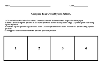 Quarter note and Eighth note Composition (Cut and Glue Activity)