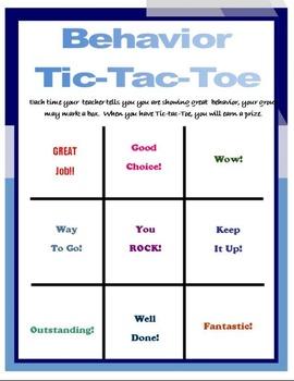 Quarter-page Behavior Tic-Tac-Toe PBIS SIT General Educati