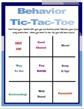 Quarter-page Behavior Tic-Tac-Toe PDF PBIS SIT General Education Intervention