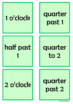 Time - 1 o'clock to 3 o'clock by 15 minute intervals