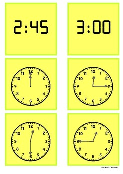Time - 12 o'clock to 3 o'clock by 15 minute intervals
