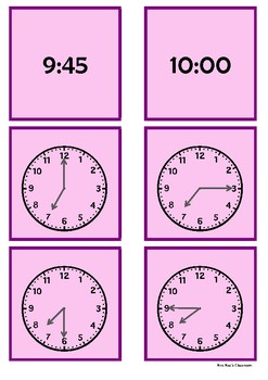 Time - 7 o'clock to 10 o'clock by 15 minute intervals