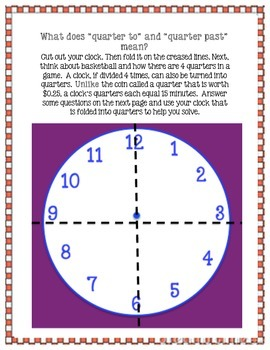 """Quarter to and Quarter past"" Match Up and Homework Activities"
