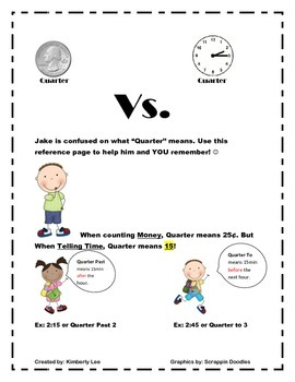 Quarter vs. Quarter-Is It Telling Time or Using Money?