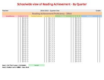 Quarterly Reading Achievement Data Spreadsheet - Excel