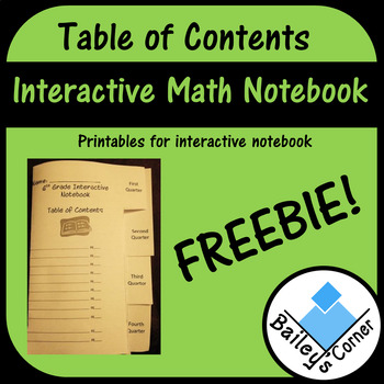 Quarterly Table of Contents Foldable for Interactive Notebook
