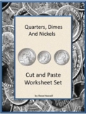 Counting Money Worksheets, Cut and Paste Coins Activities, 1st 2nd Grade Math