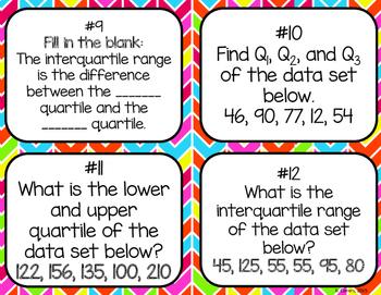 Quartiles + Interquartile Range Task Cards
