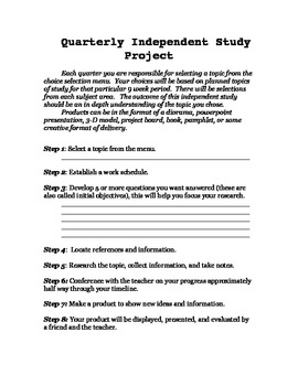 Quaterly Independent Study Project
