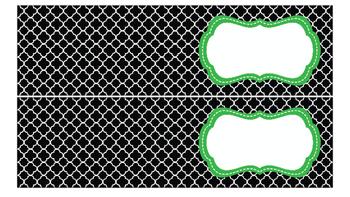 Quatrefoil Labels for 10-Drawer Organizer (Green and Black)
