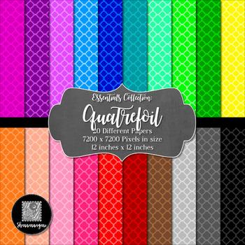 Quatrefoil 12x12 Digital Paper (Basic Colors) - Commercial