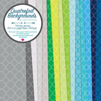 Quatrefoil Backgrounds - 8.5 x 11 - 300dpi - 37 Colors!