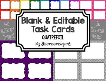 Blank Task Cards - Basics: Quatrefoil   Editable PowerPoint
