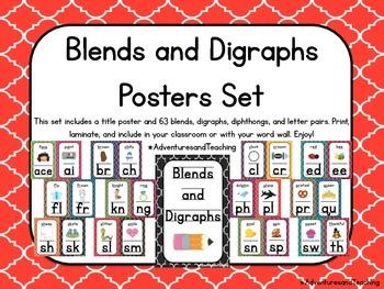 Quatrefoil Phonics Blends and Digraphs Posters