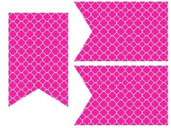 Quatrefoil Classroom Banners - Hot Pink & Lime Green