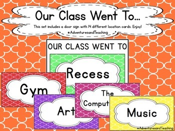 Quatrefoil Classroom Door Sign {Where are we?}